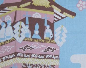Peko Chan at Kyoto's Gion Festival on Blue Tenugui Japanese Cotton Fabric Fujiya Co. w/Free Insured Shipping