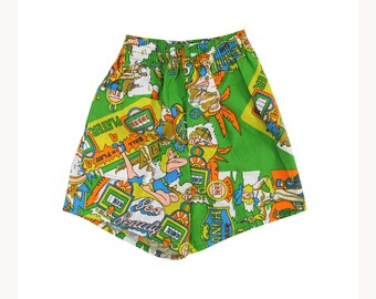 NOS vintage 70s green printed pair of kids shorts size 12 / 18 months