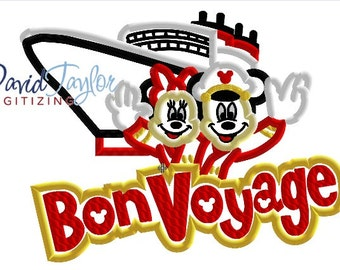 DCL Bon Voyage Ship  - 5x7, 6x10, 7x10 and 8x10 in 9 formats - Applique - Instant Download - David Taylor Digitizing