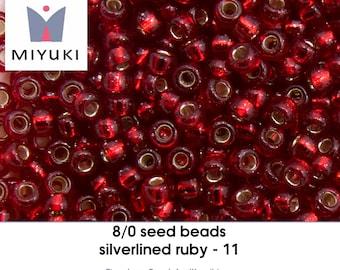 8/0 silverlined ruby - 11 - seedbeads