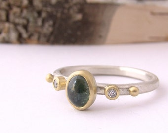 Green Sapphire and Diamond Silver Stackable Ring Oval Cabochon Hammered Band 18 Karat Gold Luxel Artisian Jewelry Metalsmith