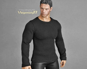 1/6 scale XXL black T-shirt for: TBLeague Phicen M34 and Hot Toys TTM 20 size bigger action figures and male fashion dolls