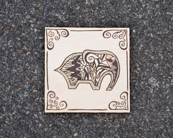 6 x 6 Elephant Wood Panel Woodburning**Made to order