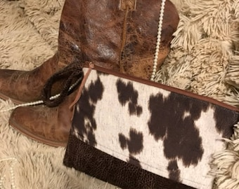Lovely cowhide and leather clutch purse