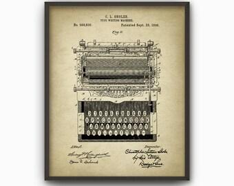 Typewriter Patent Print - 1896 Mechanical Typewriter - Vintage Non-Qwerty Typewriter - Office Decor - Secretary - Typist - Typing Art #2