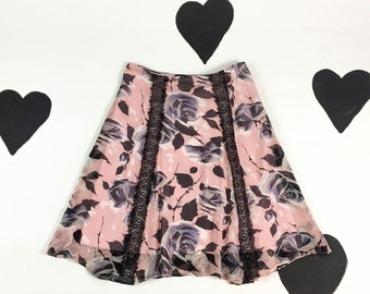 90's Betsey Johnson pink chiffon lace rose skirt 1990's y2k fluttery pale pink printed floral silk black sheer lace panel skirt A-line 8 M L