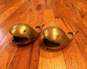 Vintage Pair of Brass Whale Ashtrays Mid-Century