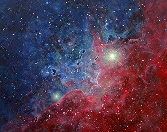 """Red Blue Space Nebula Painting 11"""" X 11"""""""
