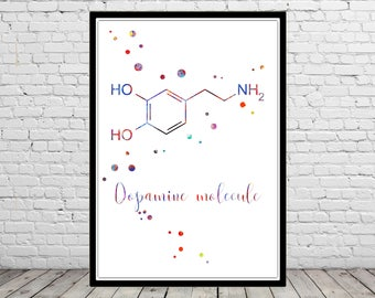 Dopamine molecule, hormone, watercolor molecule, watercolor Dopamine molecule, science, Medical Office Decor (4426b)
