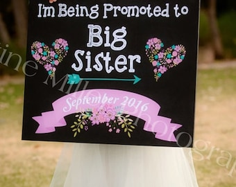 I'm Being promoted to big sister, pregnancy announcement, pregnancy announcement poster, big sister to be, big sister sign, pregnancy reveal