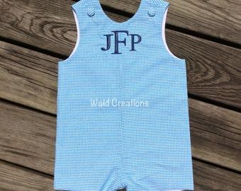Monogram romper Jon Jon Custom made baby toddler boy shortall romper