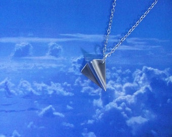 SALE! Silver Airplane Necklace, Origami Necklace, Paper Plane Necklace, Silver Airplane,  3D, Sterling Silver Necklace