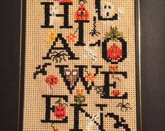 Handmade FREE SHIPPING Completed Cross Stitch Card Halloween