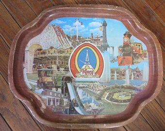 Six Flags Over Mid-America Vintage Souvenir Serving Tray Railroad Flume Eiffel Tower 1977