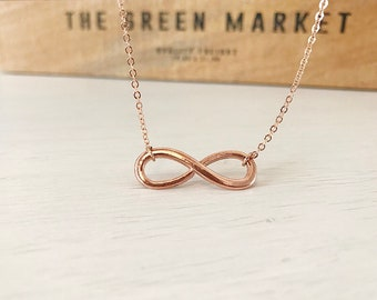 Rose Gold Infinity Necklace, Everyday Rose Gold, Simple Wedding Jewellery, Bridesmaid Gift