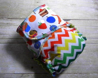 Very Hungry Caterpillar Snacks & Chevrons One Size Hybrid Fitted Diaper {Serged}