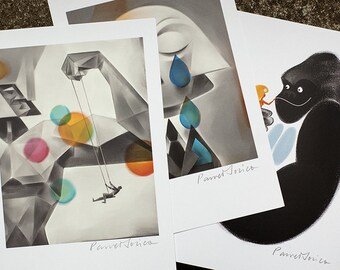 3 MINI PRINTS (2). Set of my bestselling illustrations as A5 size postcards. Can be framed or sent. Original art by Paweł Jońca.