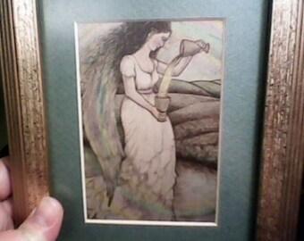 Hand Colored Mythological Tarot Angel Print Framed Beautiful Artist Signed Story