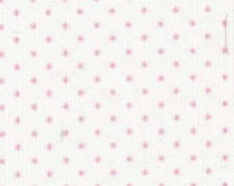 Fabric Finders Pink Dot Pinwale Pique Bitty On White Print