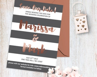 Printable Wedding Save the Date Card Rose Gold Wedding Save the Date Modern Wedding Invite Save Our Date Rose Gold Grey Wedding Invitation