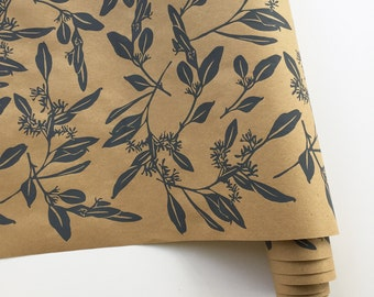 Wrapping Paper - Screen Printed Eucalyptus Gift Wrap in Gray, Hand Printed, Floral Wrapping Paper, Kraft Paper Roll, Paper Table Runner