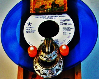 "LIQUOR CADDY BOX Hank Williams ""Long Gone Lonesome Blues"" Blue Vinyl 7"" Promo Record Kentucky Bourbon Cowboy Country Western Art Nashville"