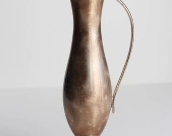 Beautiful Vintage Silverplate Pitcher Vase With Handle - 7 inches - EB Brass Germany
