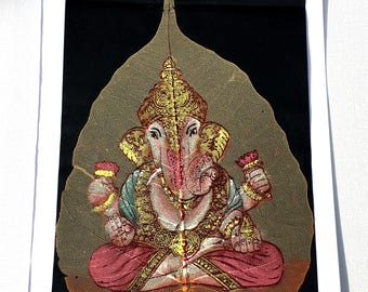 Ganesha: Colourful, Indian Oil Painting on Dried Leaf