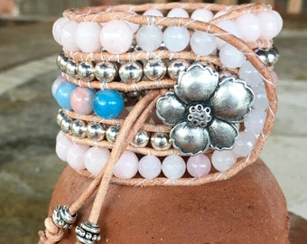 Handmade Beaded Cuff Wrap Bracelet - Jade gemstone beads in beachy serenity blue and rose quartz pink with hibiscus pewter button closure