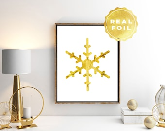 Snowflake Real Gold Foil - Snowflake Art Print - Silver Snowflake - Gold Decor - White and Gold Art - Gold Foil Print - Wall Art