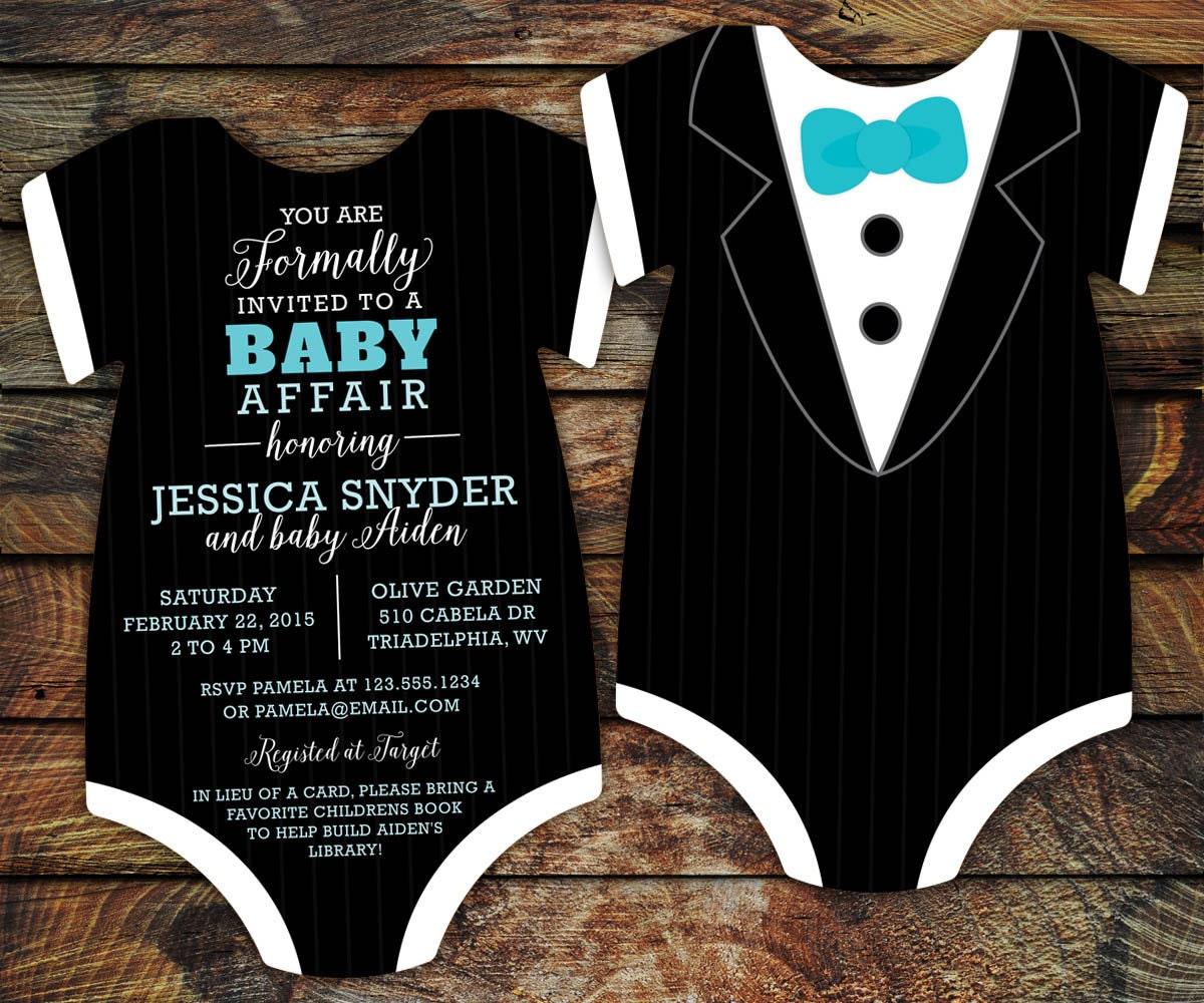Tuxedo Baby Shower Invitation Template Black Tie invitation
