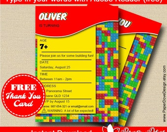 """Building Blocks Invitation 5x7"""" 