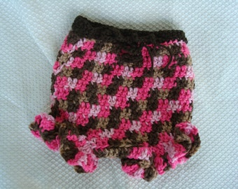 Baby Girl's Crocheted Pink and Brown Bloomer Shorts - 411