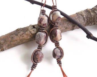 Earthy earrings, jasper earrings, wire earrings, earthy jewelry, bohemian earrings, bohemian jewelry, wire jewelry, boho jewelry