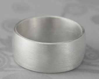 Wide Silver Ring~Heavy Ring~Sterling Silver Men's Band~10mm Wide Ring~Low Dome Band~Men's Silver Wedding Band~Big Men's Ring~Half Round Ring