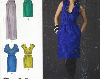 Cynthia Rowley Womens Dress in 3 Lengths Simplicity Sewing Pattern 2497 Size 4 6 8 10 12 Bust 29 1/2 to 34 UnCut Neckline & Sleeve Variation