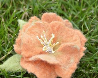 Felt brooch, handmade orange brooch, felted flower brooch
