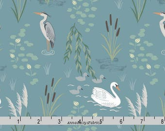 Heron, Egret, Swan Fabric, Lewis & Irene Down by the River A220 2 on Teal, Swan Quilt Fabric, Teal Wildlife Fabric, Birds, Cotton Yardage
