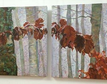 Autumn detail. Acrylic diptych.