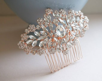 Bridal rose gold comb, Rose gold hair comb, wedding hair comb, bridal hair accessories, wedding hair piece, bridal hair comb, Style HC0012