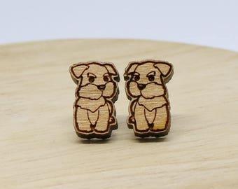 Laser Cut Wooden Schnauzer stud earrings - Laser cut stud earrings - Dog Earrings - Australian Seller