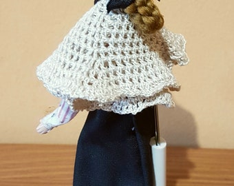 Crocheted beige granny shawl miniature for dollhouse 1:12