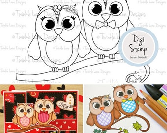 Love Birds, Digi Stamps, Digital Owl Clipart, Birds Clipart, Colouring Page, Black and White, Digital Stamps, PDF Papercraft, PDF Owl, Craft