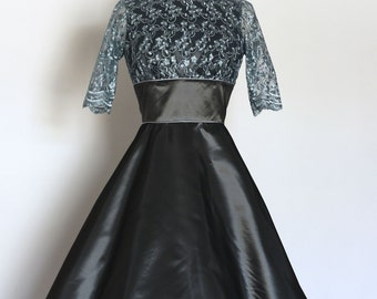 Vintage Slate Taffeta and Grey Lace Tiffany Dress with Flared Skirt - Made by Dig For Victory