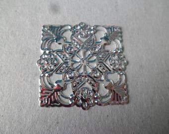 x 5 square silver 39 mm filigree flower connectors