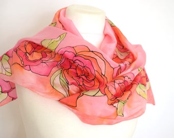 Pink rose floral silk scarf, coral orange pink scarf, stained glass scarf