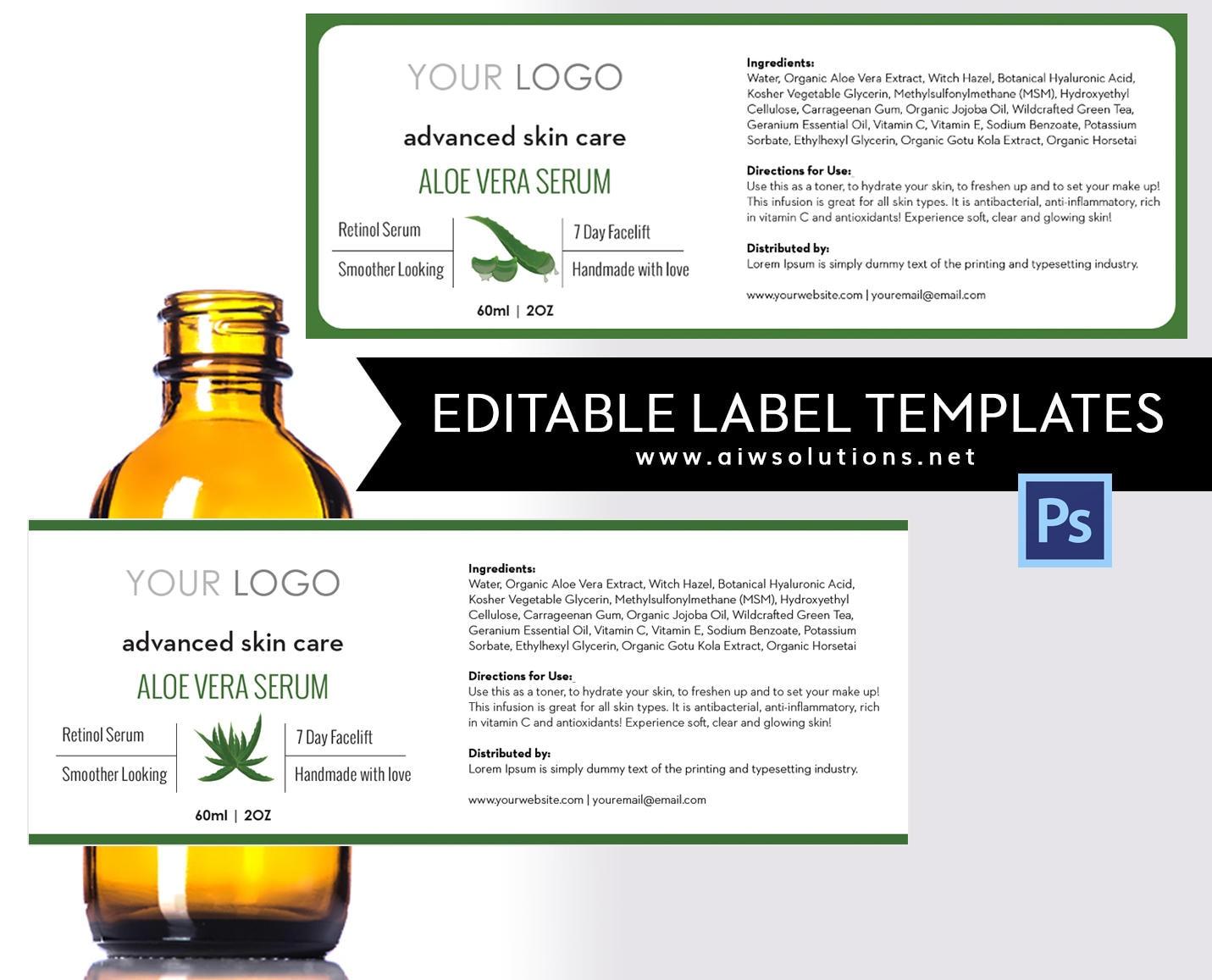 Aloe Veralabel plantilla etiqueta de 4oz plantilla de