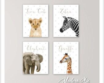 Nursery Decor Baby Animals Safari Nursery Art Zoo Animal Nursery Prints Baby Elephant Lion Zebra Giraffe Set of 4 BA 001