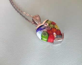 Sterling and Murano Millefiori Glass Pendant Necklace Designer Alan K. With Gift Box and Original Paperwork