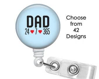 Dad Badge Reel, ID Badge Holder clip, Medical Badge Reel, Daddy Badge Reel, Father Badge Reel, Parent Badge reel, Stepdad badge reel